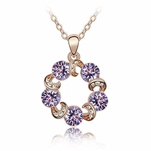 QIYUEQI Damen Kette Halskette Mit Anhänger Kommt In Eleganten Geschenk-Box, Nickel-Freie Bestanden Sgs Test Crystal Violett