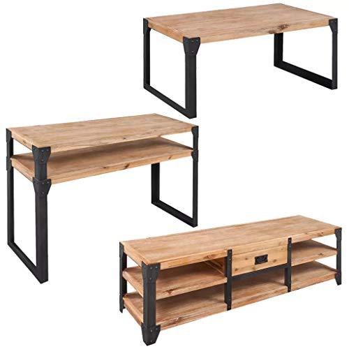 UBAYMAX Three Piece Living Room Furniture Set Solid Acacia Wood