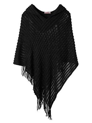 Slivexy Poncho et Cape Femme Crochet avec Capuche Pull avec Franges Noir