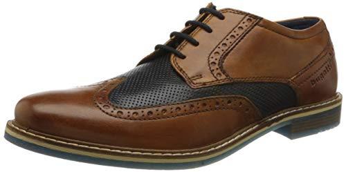 Bugatti 312854024141, Zapatos de Cordones Derby para Hombre, Marrón Cognac/Dark Blue 6341, 43 EU
