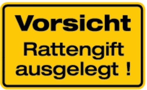 Schild Alu Vorsicht Rattengift ausgelegt! 120x200mm