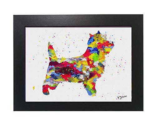 a9abb13f Cairn Terrier - Lámina enmarcada (tamaño A4), diseño de Acuarela