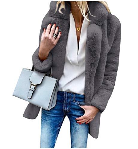 CuteRose Women's Longline Imitation Cardi Luxury Warm Outwear Coat Dark Grey S (Double Breasted Pea Coat Dress)