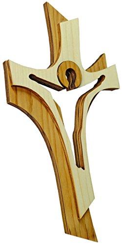 Kaltner Präsente Geschenkidee - Wandkreuz Echtes Holz Kreuz Kruzifix Auferstehungskreuz für die Wand 30 cm modern gefertigt im Grödner Tal Südtirol