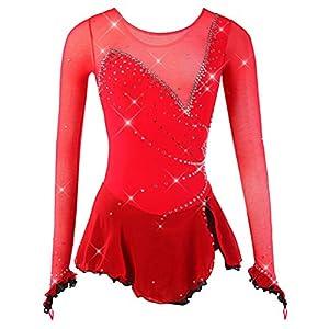 YunNR Eiskunstlaufkleid Damen/Mädchen Eislaufen Kostüm rot Mesh Hohe Elastizität Atmungsaktiv Handmade Neuheit Wettbewerb Skating Wear Lange Ärmel