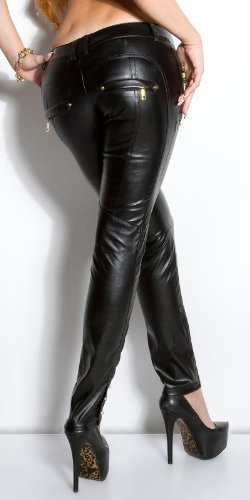 Extravagante sexy Lederlook-Hose Lederhose in schwarz und rot Schwarz