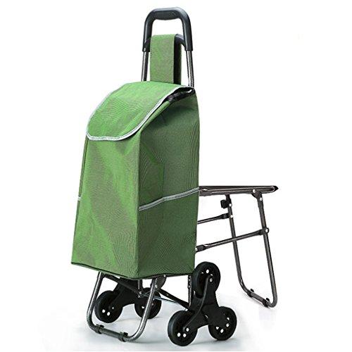 Leichtes Treppensteigen Klettern Faltbarer Einkaufswagen 6 PU-Rad zusammenklappbarer Stoß, Ziehen Sie Wagen mit Seat Oxford Cloth Einkaufstasche Wagen Große Kapazität 40L Gewicht: 2,5 kg in grün