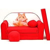 Preisvergleich für PRO COSMO D37Kids Schlafsofa mit Puff/Fußbank/Kissen, Stoff, rot, 168x 98x 60cm