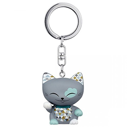 porte-cle-chat-porte-bonheur-mani-the-lucky-cat-gris-collier-bleu-canard