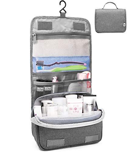 Kulturtasche zum Aufhängen Faltbarer Reise Kulturbeutel mit Tragegriff, Waschtasche, Waschbeutel für Herren, Damen (Grau)