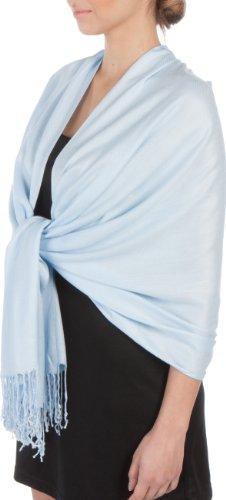 Sakkas 198.1cm x 71.1cm Soyeux Doux Solid Pashmina Touchéécharpe / Enveloppant / Étole Baby Blue