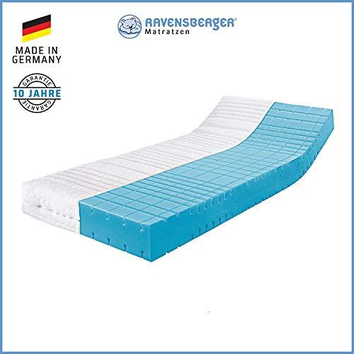 RAVENSBERGER STRUKTURA-MED® 60 | 7-Zonen-HR-Premium-Kaltschaummatratze | H3 RG 60 (80-120 kg) | Made IN Germany - 10 Jahre Garantie | Baumwoll-Doppeltuch-Bezug | 90 x 200 cm