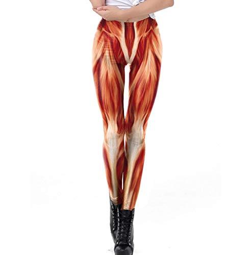 Susenstone Damen Sporthose 3D Muskel Print High Waist Leggings Jogginghose Lange Fitnesshose High Waist Yogahose Frauen Hosen Trainingshose Laufhose S - XL
