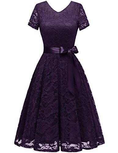 Bridesmay Damen 50S Retro Spitzenkleid Kurzarm Elegant Cocktail Abendkleid Grape L
