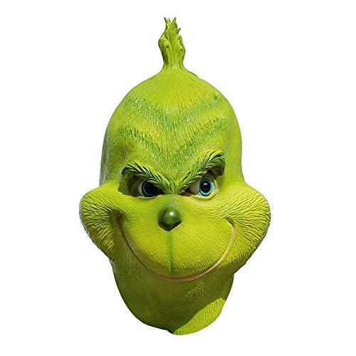 Kostüm Halloween Erwachsene Für Grinch - FOONEE Grinch Maske Grün Latex Vollkopf Maske Halloween Kostüm Weihnachten Cosplay Zubehör Für Erwachsene Männer Kostüm