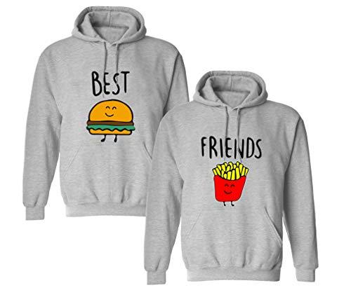 Best Friends Pullover für Zwei Mädchen Sister Beste Freunde Hoodie Set für 2 Damen Kapuzenpullover Sweatshirt Pulli Freundin BFF Geschenke Schwarz Grau (Grau1-Hoodie, M + M)