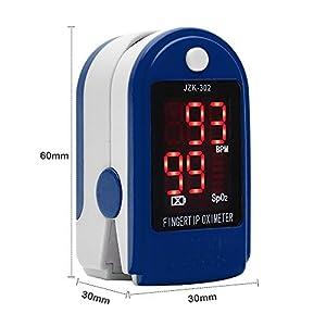 41XVP5MQYJL. SS300 Pulsossimetro e cardiofrequenzimetro, pressione sanguigna e saturimetro, sensore SpO2, con display LED e borsa per il…