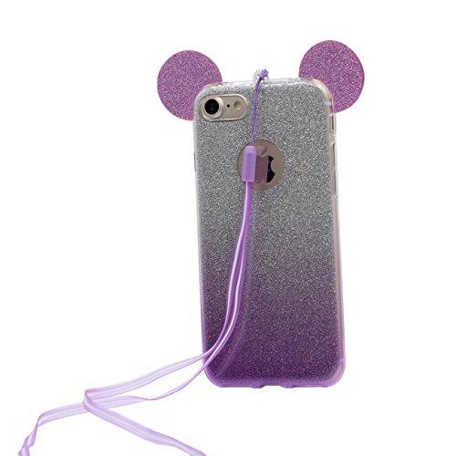 iPhone 6S Coque de protection Case Joli Charmant Cartoon Oreilles de la souris Forme Serie Style Fine Poids léger Doux Silicone Transparente Étui pour Apple iPhone 6 6S 4.7 inch X 1 stylet violet