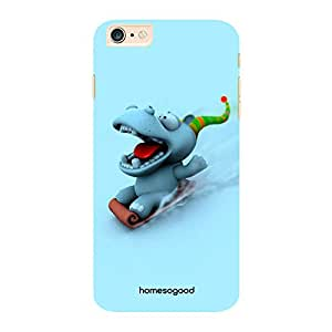 HomeSoGood Skiing Hippo Multicolor 3D Mobile Case For iPhone 6 Plus (Back Cover)