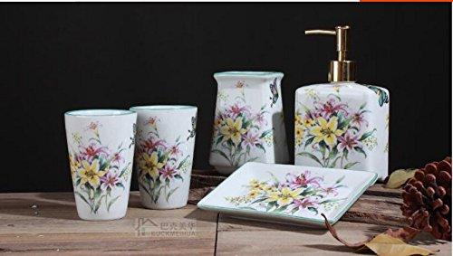 ZYZX La céramique américaine et Salle de Bains Nouveau rince-Bouche Chinois mug Laver Cinq pièces Une Salle de Bains Privative Fleur Bleue