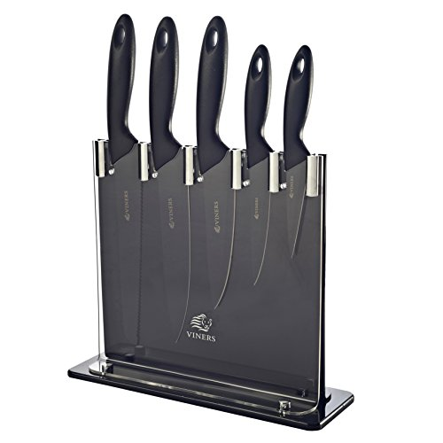 Viners VIN Silhouette 6 PC Black Knife Block Set GIF
