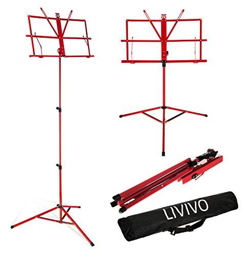 Atril plegable para partituras de la marca Livivo® con funda, de alta...