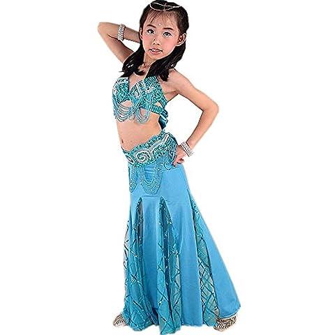 Wgwioo Professionelle Performance Girl Bauchtanz Rock Diamant Quaste Sequins Indien Handgefertigte Tüll Stickerei multicolor Kinder Party Modern Clothes Kostüm d (Kostüm D'indien)