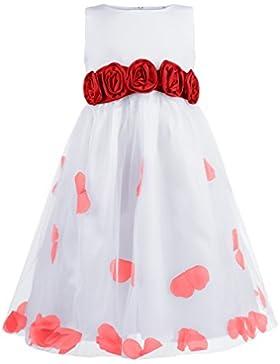 Princesas Disney - Vestido de gala de Dama de Honor con flores estampados para niña, 104/110 cm (Talla de fabricante110)