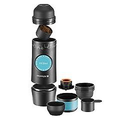 Idea Regalo - Alfa wise Mini Macchina espresso portatile manuale, macchina per caffè espresso, caffettiera portatile ricaricabile per casa, ufficio, perfetto a escursioni, campeggio e viaggio, Nera