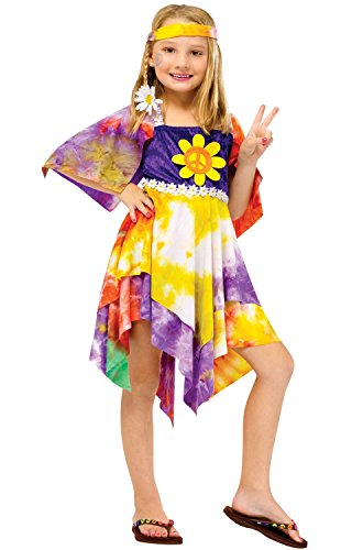 Little Girls Hippy Fancy Dress Costume, Ages 4 to 6
