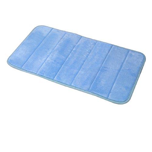 Carpemodo Schaumstoff Super Absorbierende Schnell Trocknende Badematte / Memory Foam / Größe: 40x70 cm / Farbe: Hell Blau / groß geriffelt