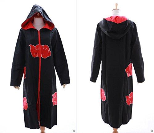 Sasuke Kostüm Cosplay (N-02 Akatsuki Naruto Sasuke Team Taka Kapuzen Mantel Umhang Coat Cosplay Kostüm Kawaii-Story (Size)