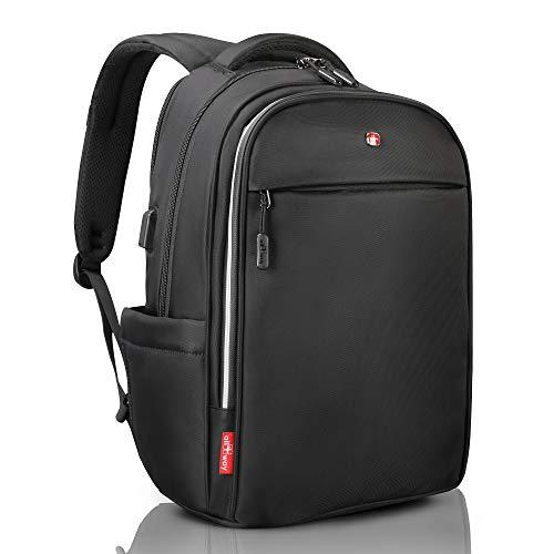 all4way Laptop Rucksack RFID Schutz schwarz - Diebstahlschutz USB Port Swiss Design - Business College Reise Schulrucksack - wasserdichter ...