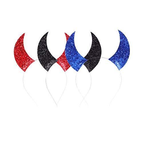 Kostüm Und Rot Schwarz Teufel - Amosfun 3 Stücke Teufel Horn Pailletten Stirnband Kostüm Kopfschmuck Maskerade Cosplay Prop für Kinder (Rot Schwarz Blau)