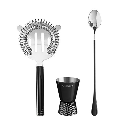 Viners Barware Premium stainless steel bar Tool set includes strainer,