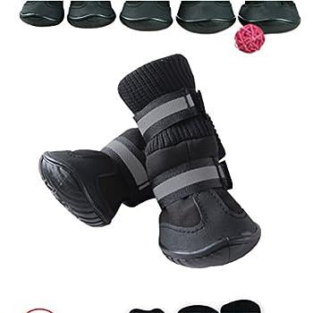UEETEK Chaussure pour Chien Neige Bottes pour Chiens Antiderapant Imperméable Noir 4 Pièces size M
