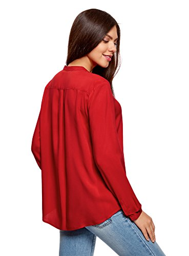 oodji Collection Damen Viskose-Bluse in A-Silhouette Rot (4501N)