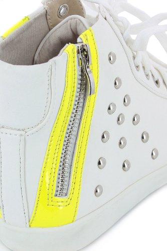 Tennis montantes à clous et zip Blanc