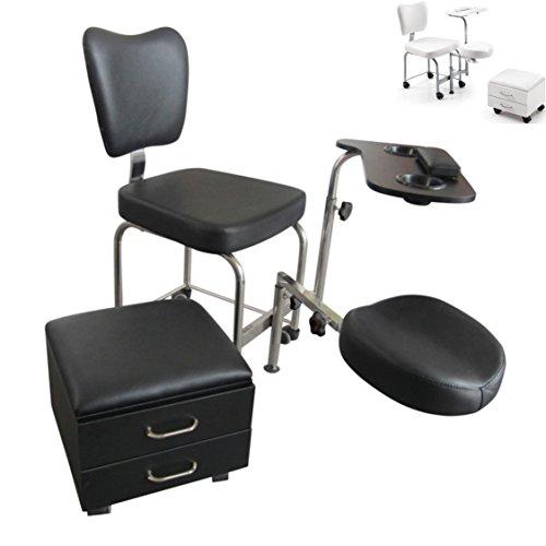ATHOS sgabello per estetista da massaggi pedicure manicure estetica ricostruzione unghie nail art sedia podologia (Nero)