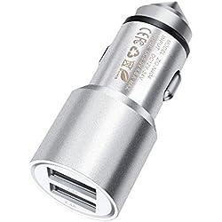 ONX3 (Silver) Schnelle Ladung Dual Port USB Vollmetall Auto Ladegerät mit LED Indikator 3.1A 24W Sicherheit Hammer FürAmazon Fire HD 7 Kids Edition Tablet