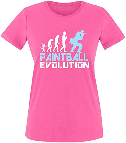 EZYshirt® Paintball Evolution Damen Rundhals T-Shirt Fuchsia/Weiss/Hellbl