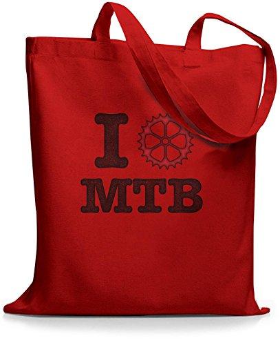 StyloBags Jutebeutel / Tasche I love MTB vintage Rot