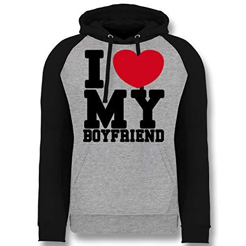 Kostüm Love Dude - Shirtracer Valentinstag - I Love My Boyfriend - XL - Grau meliert/Schwarz - JH009 - Baseball Hoodie