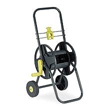 Relaxdays, Grey/Yellow Hosepipe Cart 45 m. Mobile Garden Trolley, Hose Holder, 76.5 x 44 x 41 cm
