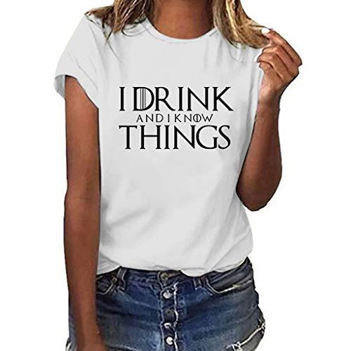 Overdose Sommer Oberteile Bluse Frauen Casual O-Neck Kurzarm Spruch Print Damen Tops Tees Blusen T-Shirt Plus Size (Weiß,EU 38/CN M)
