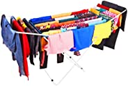 Kurtzy Steel Foldable Laundry Hanger Cloth Dryer Stand for Balcony, Indoor and Outdoor (Dark Blue with White)