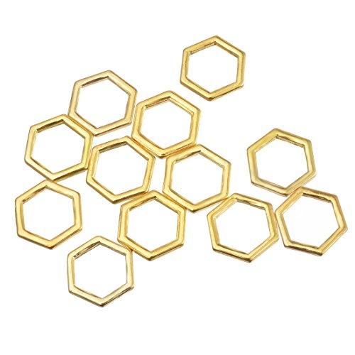 Souarts 1 Set Gold Farbe Groess Sechseck Schmuckzubehör Basteln Charms Anhänger Für Halskette Armband 20St (20 Anhänger Halskette)