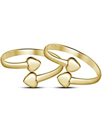 Dividiamonds 14K Yellow Gold Plated 925 Sterling Silver Plain Lovely Heart Adjustable Toe Ring For Women