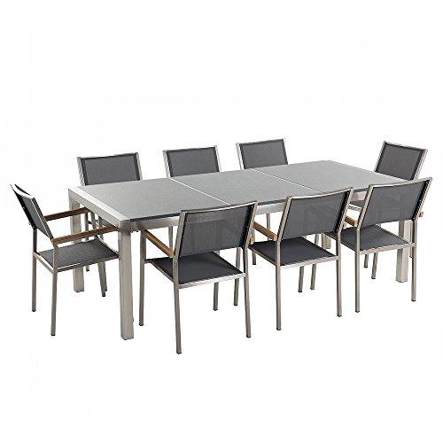 Gartenmöbel - Granitgartentisch 220 cm grau poliert mit 8 grauen Stühlen - GROSSETO