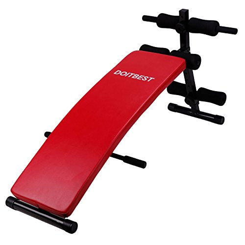 CCLIFE Bauchtrainer Sit-up Bank Trainingsbank Bank klappbar Tainingsbank 6-Fach verstellbar belastbar bis 120kg Rot / Schwarz